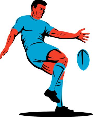 Rugby player kicking ball Stock Vector - 4582495