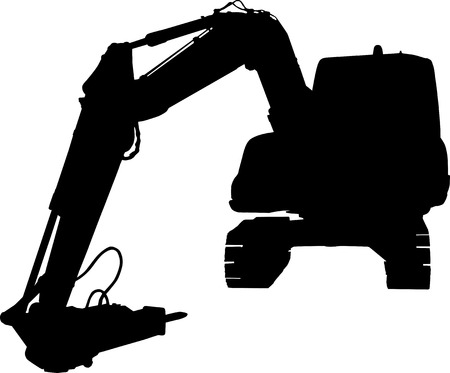 Mechanical digger isolated on white background Vector