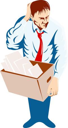 carrying box: El hombre llevaba una caja de cart�n Vectores