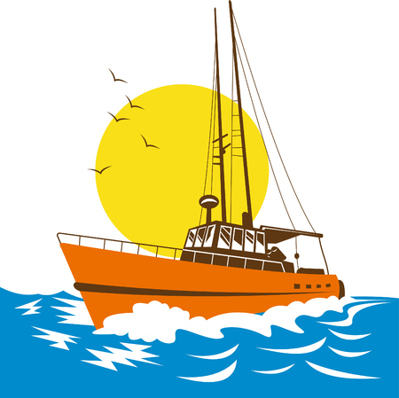 Fishing boat with sun in the background Illustration