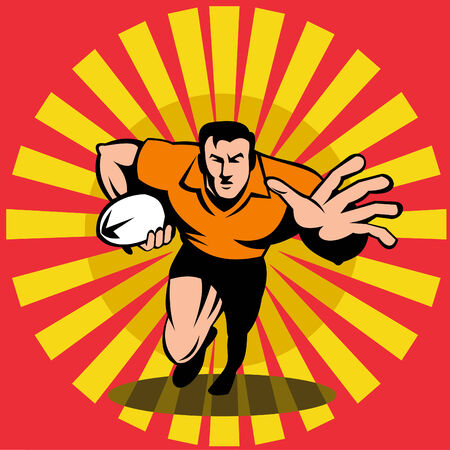 footie: Rugby player fending off Illustration