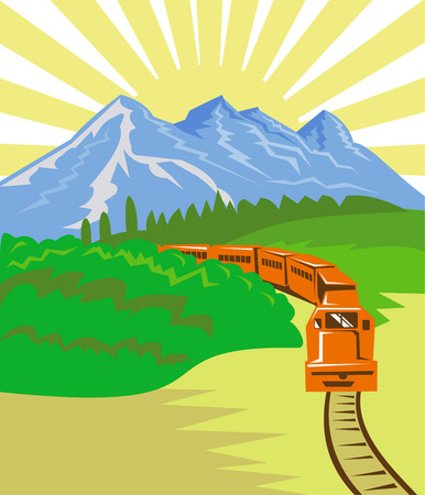 railway track: Trein met bergen op de achtergrond
