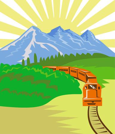 ferrocarril: Tren con la monta�a en el fondo Vectores