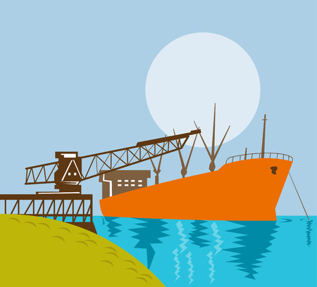Cargo ship being loaded by a crane Vector