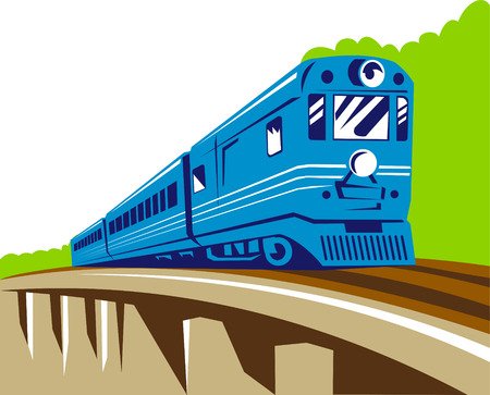 Train traveling over viaduct Vector