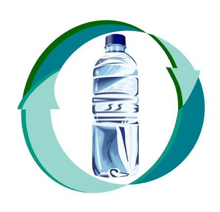 Recycling symbol with plastic bottle Stock Photo