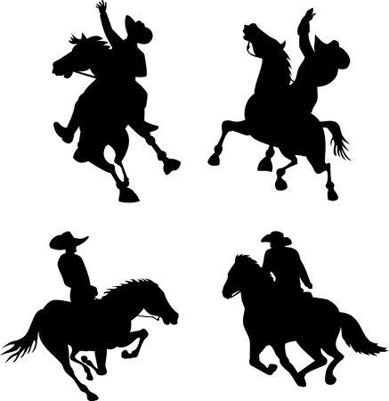 bucking bronco: Rodeo Cowboy riding a bucking bronco