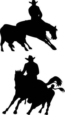 Rodeo cowboy horse cutting photo
