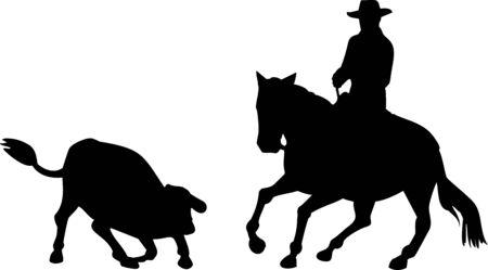 rodeo americano: Caballo de corte vaquero de rodeo Foto de archivo