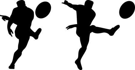 El jugador de rugby patear la pelota