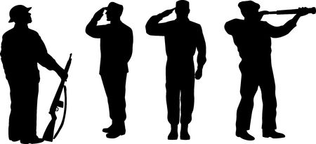fullbody: Military soldier silhouette Stock Photo