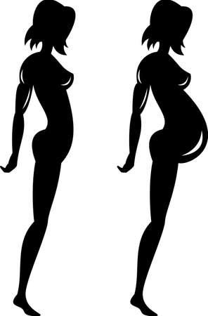 silhouette feminine: Femmes enceintes et figure silhouette