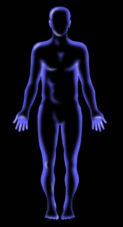 man full body: Human anatomy x-ray vision Stock Photo