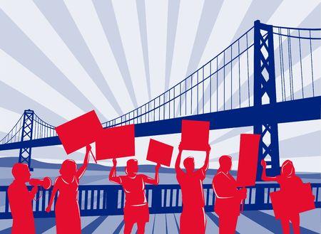 protesting: People protesting development with harbor bridge Stock Photo