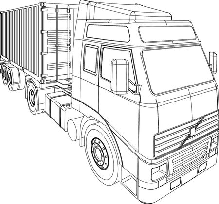 Container truck line drawing photo