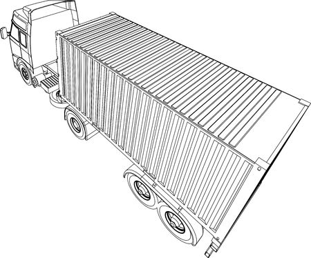 forwarding: Container truck line drawing Stock Photo