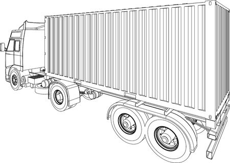 Container truck line drawing Stock Photo - 5440294