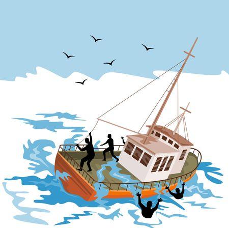ahogandose: Barco de pesca luchando contra enormes olas con la gente por la borda Foto de archivo