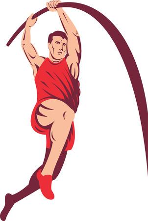 Athlete doing the Pole vault jump Stock Vector - 5502092
