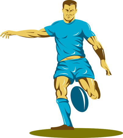 Rugby player kicking the ball Stock Vector - 5502094