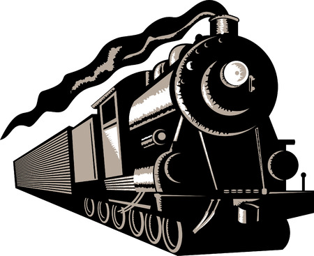 Stem train locomotive Stock Vector - 5502096