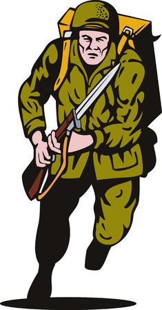 baionetta: II guerra mondiale soldato a baionetta attaccare  Vettoriali