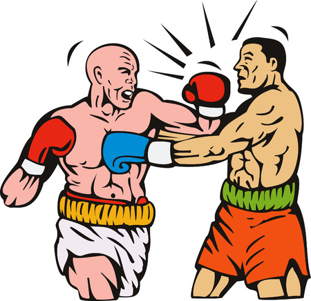 boxing knockout: Boxer connecting a knockout punch