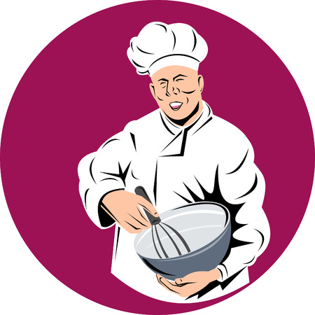 Chef holding a mixing bowl Stock Vector - 5502138