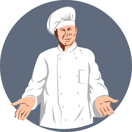 Chef cook with hands outstretch welcome Stock Vector - 5502156