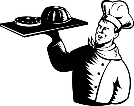 Baker serving a tray of pastries Vector
