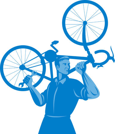 carry: Mechanic carrying bicycle on shoulders