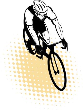 cyclist racing on bike Vector