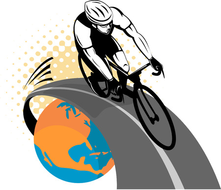 cyclist racing on bike coming out of globe Vector