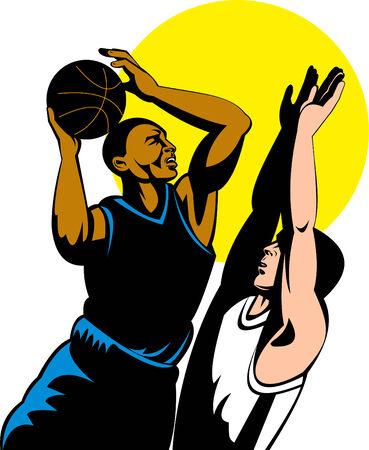 dunking: basketball player shooting ball Illustration