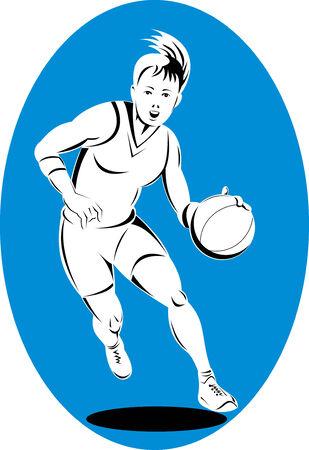 fullbody: El jugador de baloncesto el bal�n botando Mujer