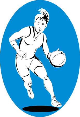 frau ganzk�rper: Woman Basketball-Spieler den Ball dribbeln Illustration