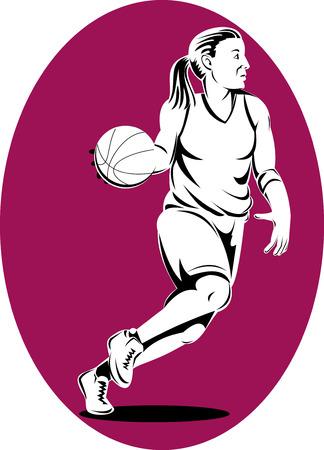 frau ganzk�rper: Frau-Basketball-Spieler den Ball dribbeln