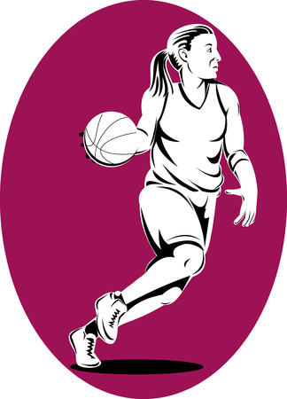 fullbody: Woman basketball player dribbling the ball