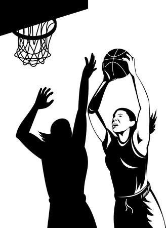hoops: Woman basketball player shooting ball