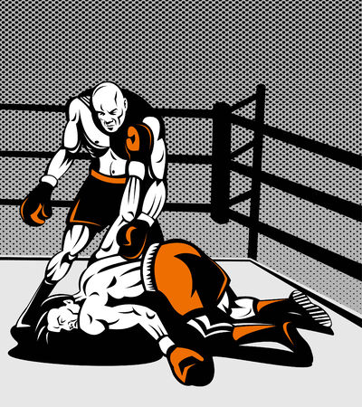 knocked over: Boxer standing over challenger knocked out on canvas