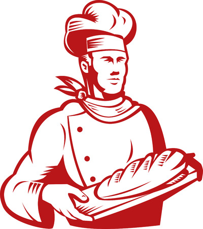 Baker showing loaf of bread