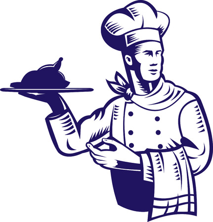 Chef carrying a plate of food Stock Vector - 5502135