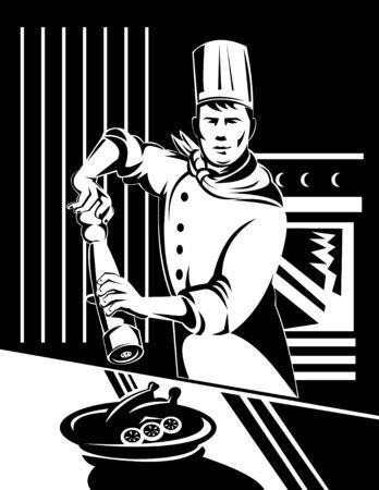 condimentos: Chef sacudir a un molinillo de pimienta en la comida preparada Vectores