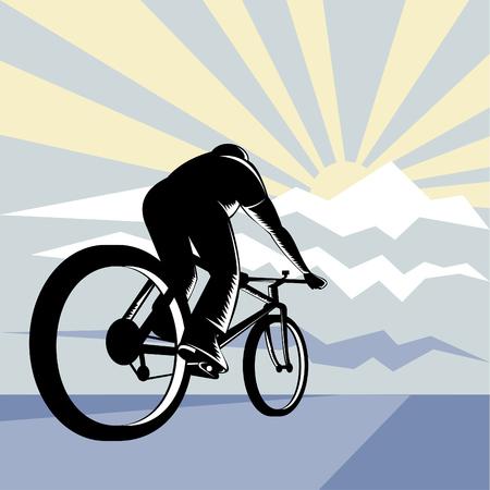 Cyclist racing up a mountain Vector