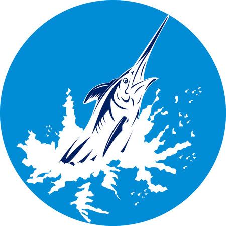 hooks: Blue marlin jumping