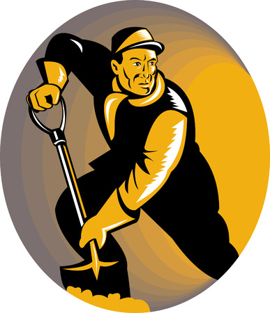 Coal miner with shovel Stock Vector - 5502154