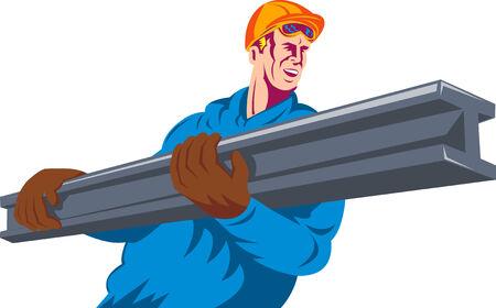 girder: construction worker lifting a girder Illustration