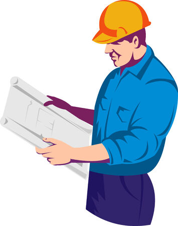 Construction engineer or foreman reading plans