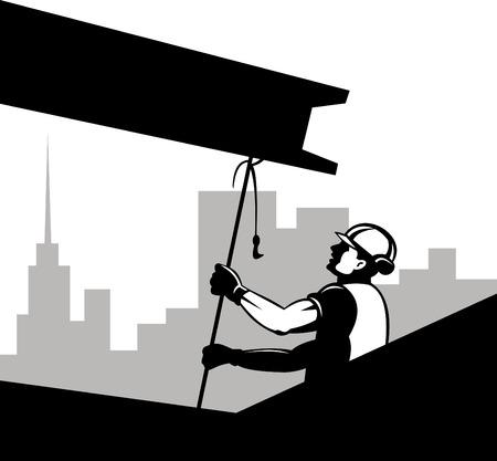 Construction worker hoisting girder
