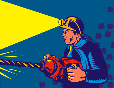 Coal miner at work with pneumatic drill Vector